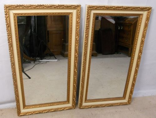 Pair Gilt & Paint Finish Hanging Wall Mirrors